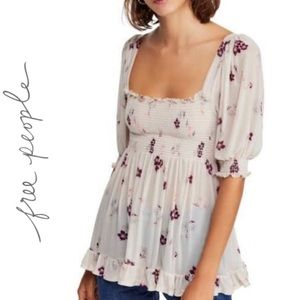 Free People  Delta Dawn Ivory Floral Smocked Top.